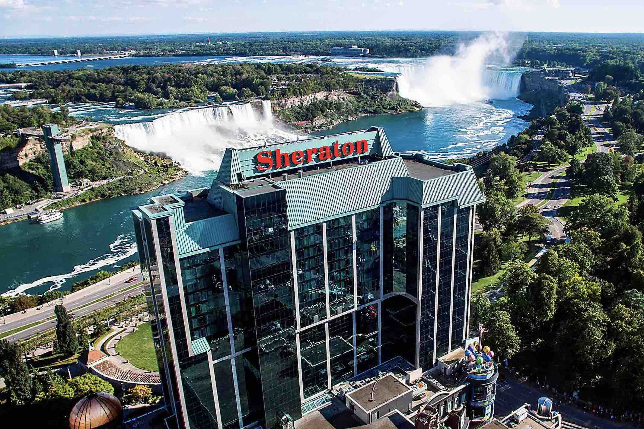 Sheraton on the Falls Hotel aerial view of luxury hotels in niagara falls with waterfalls in background